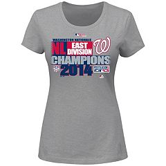 Women's Majestic Washington Nationals 2014 Division Champions Locker Room Tee