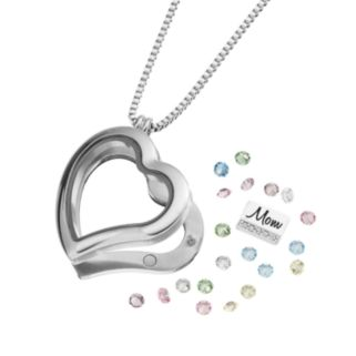 """Blue La Rue Crystal Stainless Steel 1.2-in. Heart """"Mom"""" Charm Locket - Made with Swarovski Crystals"""