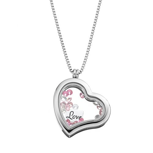 """Blue La Rue Crystal Stainless Steel 1.2-in. Heart """"Love"""" Charm Locket - Made with Swarovski Crystals"""