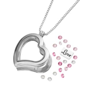 "Blue La Rue Crystal Stainless Steel 1.2-in. Heart ""Love"" Charm Locket - Made with Swarovski Crystals"