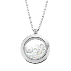 Blue La Rue Crystal Stainless Steel 1-in. Round Star and Moon Charm Locket - Made with Swarovski Crystals