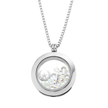 Blue La Rue Crystal Stainless Steel 1-in. Round Star & Moon Charm Locket - Made with Swarovski Crystals