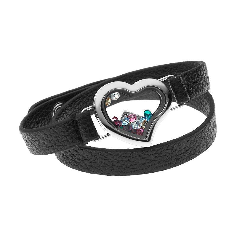 "Blue La Rue Crystal Stainless Steel 1-in. Heart ""Faith"" Charm Locket Wrap Bracelet - Made with Swarovski Crystals, Women's, Black"