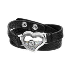 "Blue La Rue Crystal Stainless Steel 1-in. Heart ""Mom"" Charm Locket Wrap Bracelet - Made with Swarovski Crystals"