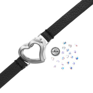 """Blue La Rue Crystal Stainless Steel 1-in. Heart """"Mom"""" Charm Locket Wrap Bracelet - Made with Swarovski Crystals"""