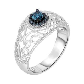 1/3 Carat T.W. Blue Diamond Sterling Silver Halo Filigree Ring