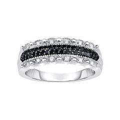 1/4 Carat T.W. Black & White Diamond Sterling Silver Scalloped Ring