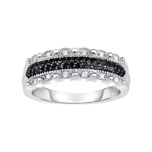 1/4 Carat T.W. Black & White Diamond Sterling Silver Scalloped Ring