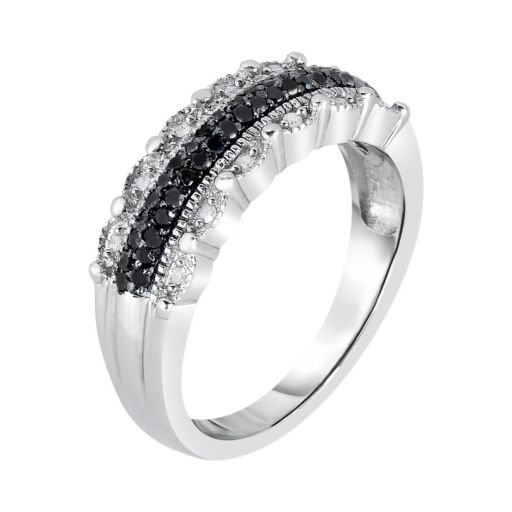 1/4 Carat T.W. Black and White Diamond Sterling Silver Scalloped Ring