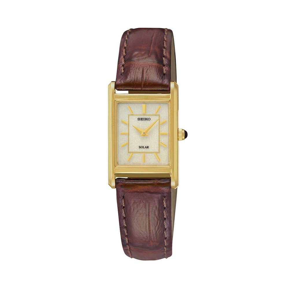 Seiko Women's Leather Solar Watch - SUP252