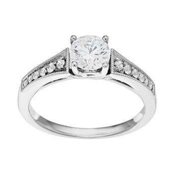 14k White Gold 7/8 Carat T.W. IGL Certified Diamond  Engagement Ring