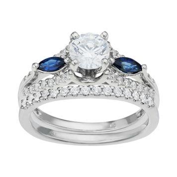 14k White Gold 1 1/6 Carat T.W. IGL Certified Diamond & Sapphire Engagement Ring Set