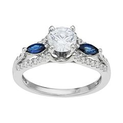 14k White Gold 1 Carat T.W IGL Certified Diamond & Sapphire Engagement Ring