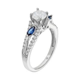14k White Gold 1 Carat T.W IGL Certified Diamond & Sapphire Engagement Ring