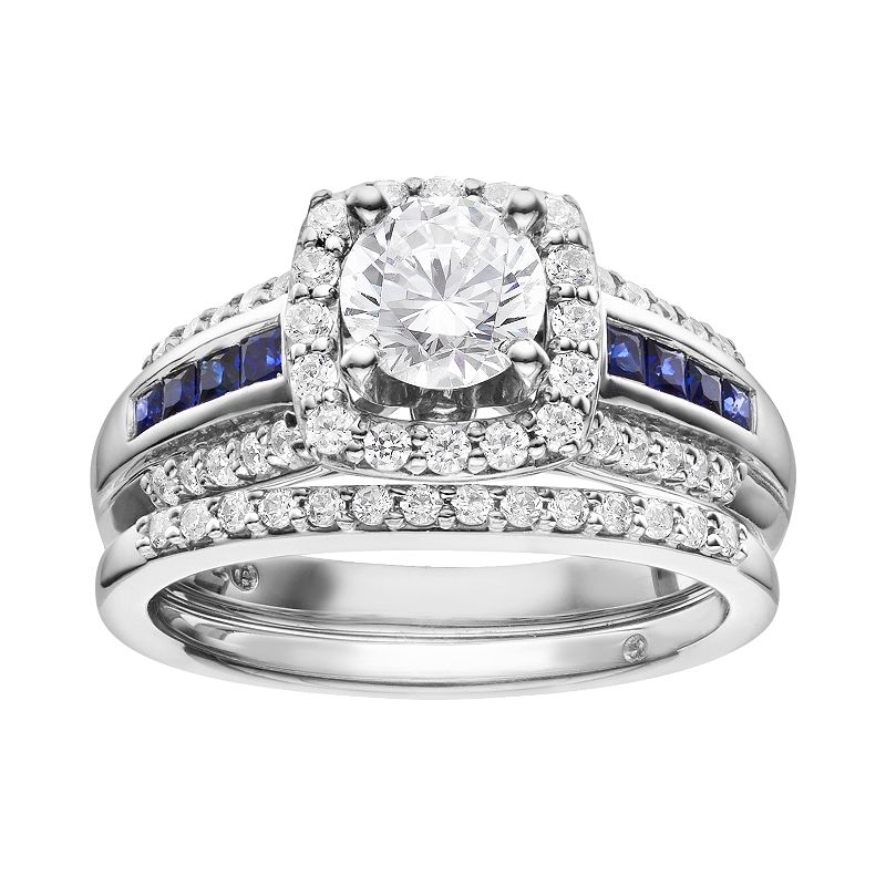 Diamond & Sapphire Tiered Square Engagement Ring Set in 14k White Gold (1 1/5 ct.)