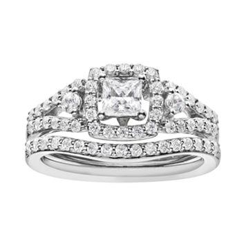 14k White Gold 1 Carat T.W. IGL Certified Diamond Tiered Square Engagement Ring Set