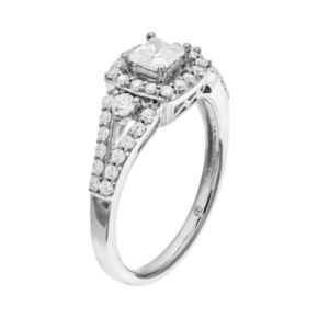 14k White Gold 9/10 Carat T.W. IGL Certified Diamond Tiered Square Engagement Ring