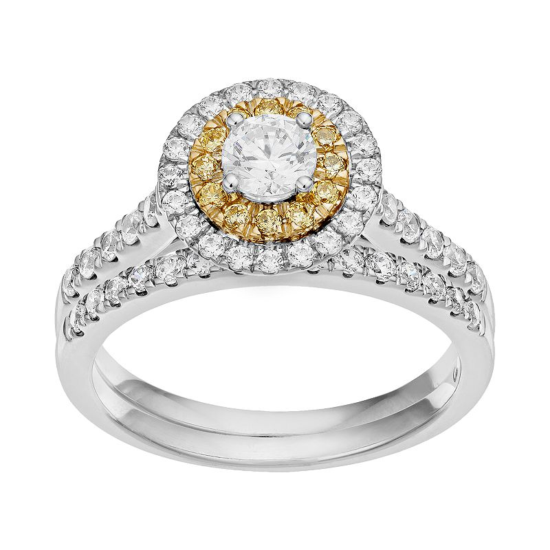 Yellow & White Diamond Tiered Halo Engagement Ring Set in 14k White Gold (3/4 Carat T.W.)