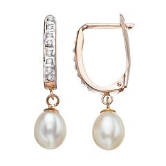 Diamond Fascination Freshwater Cultured Pearl 10k Gold Drop Earrings