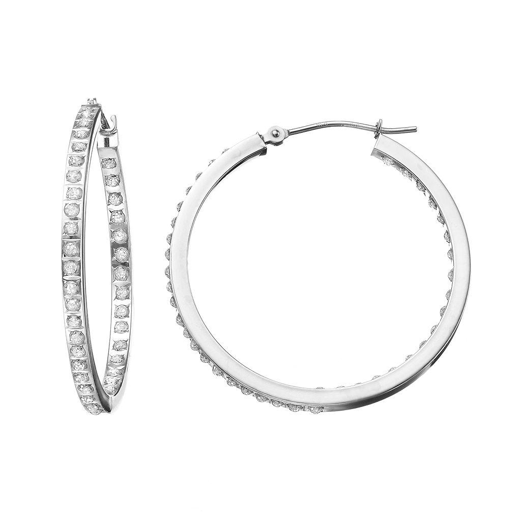 Diamond Fascination 10k Gold Inside-Out Hoop Earrings