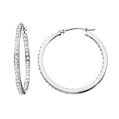 Diamond Fascination 10k Gold Inside-Out Hoop Earrings