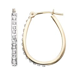 Diamond Fascination 10k Gold U-Hoop Earrings