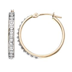 Diamond Fascination 10k Gold Hoop Earrings