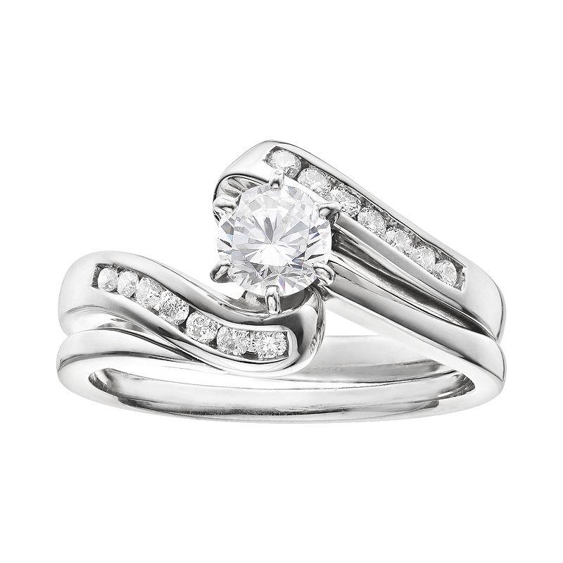 Diamond Bypass Engagement Ring Set in 14k White Gold (3/4 Carat T.W.)