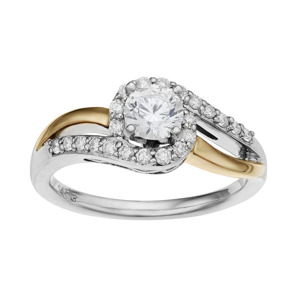 14k Gold 3/4 Carat T.W. IGL Certified Diamond Two Tone Swirl Engagement Ring