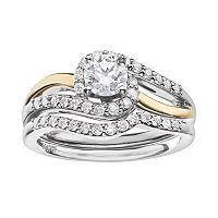 14k Gold 7/8 Carat T.W. IGL Certified Diamond Two Tone Swirl Engagement Ring Set