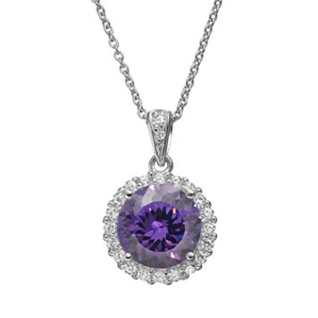 Sophie Miller Purple & White Cubic Zirconia Sterling Silver Halo Pendant Necklace