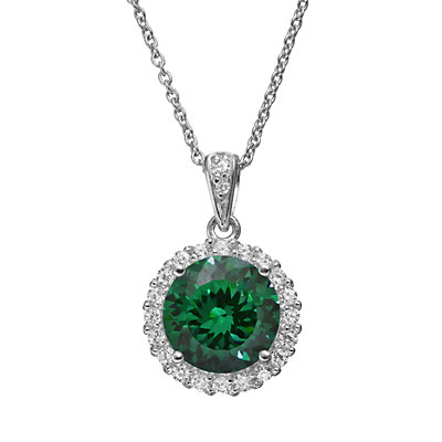 Sophie Miller Simulated Emerald and Cubic Zirconia Sterling Silver Halo Pendant Necklace