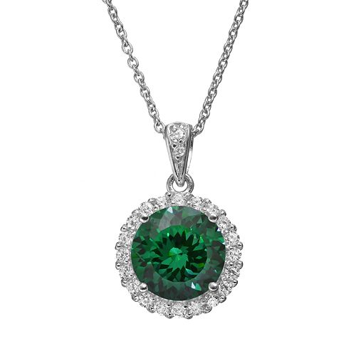 Sophie Miller Simulated Emerald & Cubic Zirconia Sterling Silver Halo Pendant Necklace