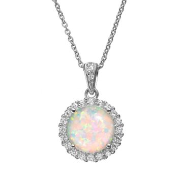 Sophie Miller Lab-Created Opal & Cubic Zirconia Sterling Silver Halo Pendant Necklace