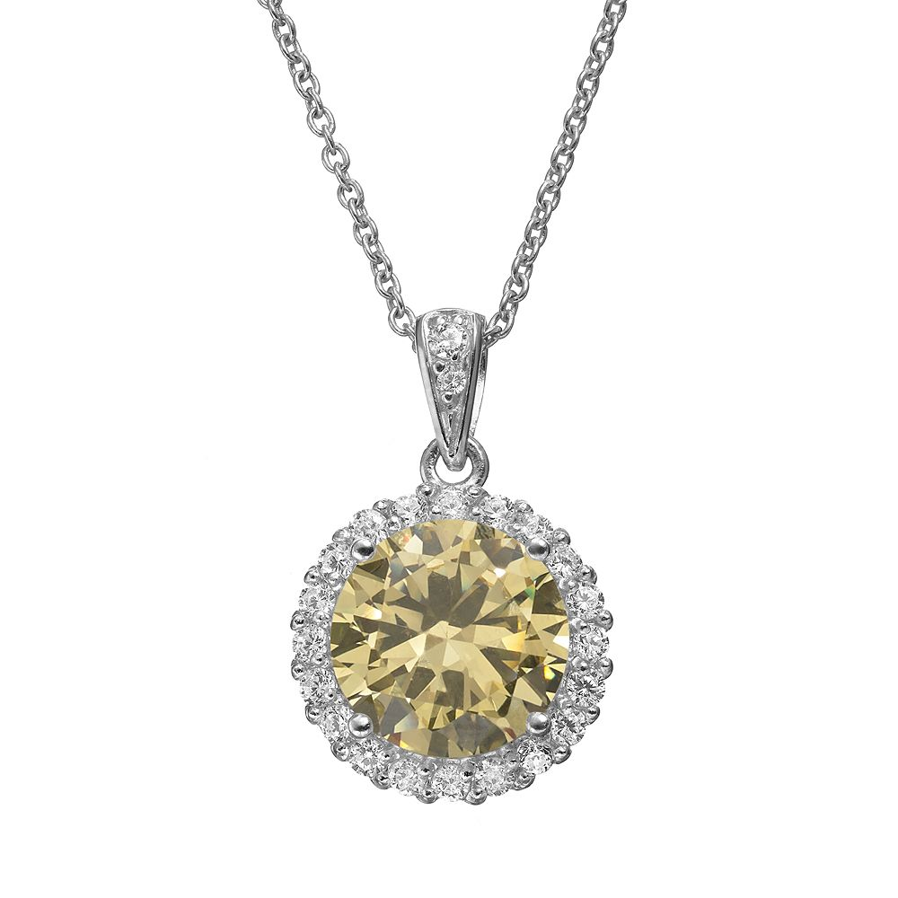 Sophie Miller Yellow & White Cubic Zirconia Sterling Silver Halo Pendant Necklace