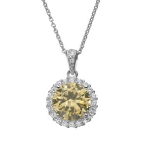 Sophie Miller Yellow and White Cubic Zirconia Sterling Silver Halo Pendant Necklace