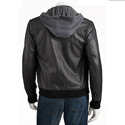 Big & Tall Excelled Faux-Leather Hooded Bomber Jacket