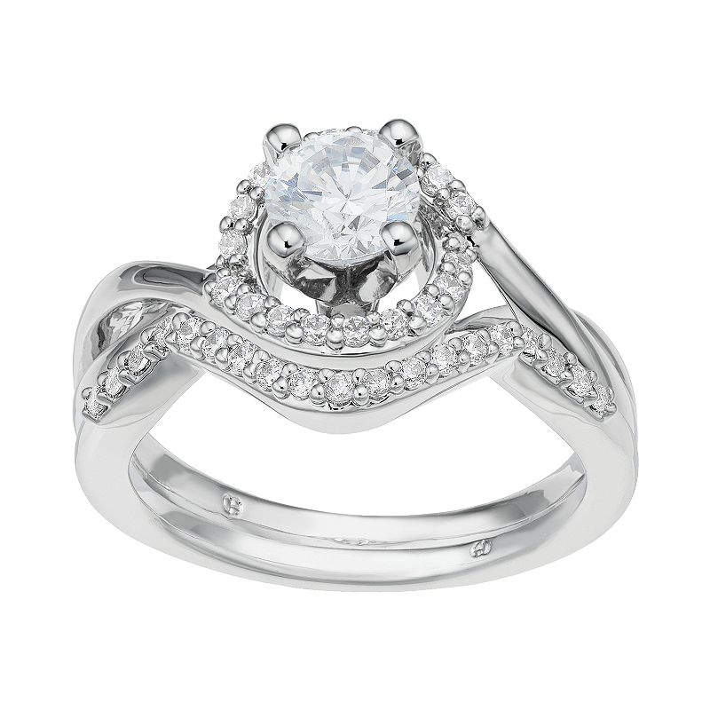 Diamond Tiered Halo Engagement Ring Set in 14k White Gold (1 Carat T.W.)