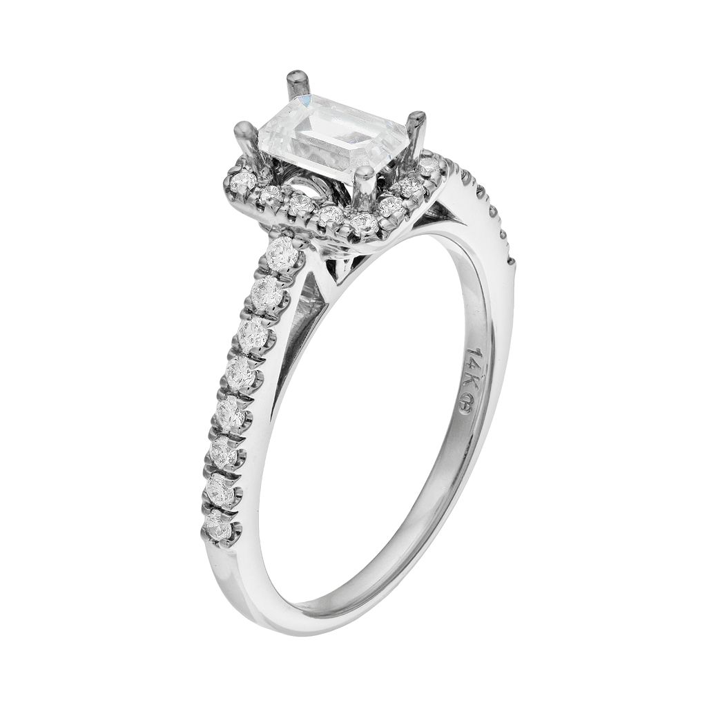 14k White Gold 3/4 Carat T.W. IGL Certified Diamond Tiered Rectangle Engagement Ring