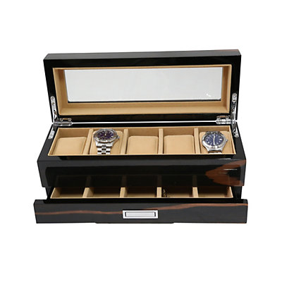 Bey-Berk Ebony Wood 5-Slot Watch Storage Box - Men