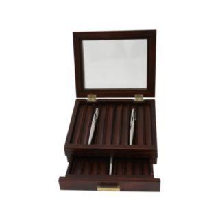 Bey-Berk Walnut Wood 19-Slot Pen Storage Box - Men