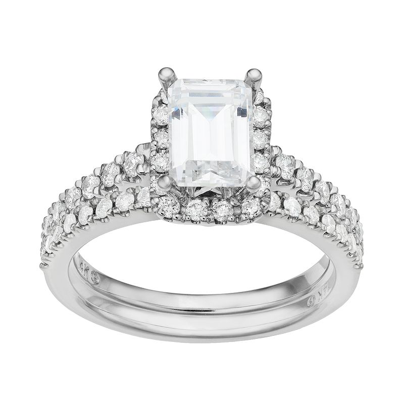Diamond Tiered Rectangle Engagement Ring Set in 14k White Gold (1 1/3 Carat T.W.)