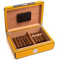 Bey-Berk Carbon Fiber 25-Cigar Humidor - Men