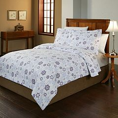 Pointehaven Snow Drop Flannel Duvet Cover Set