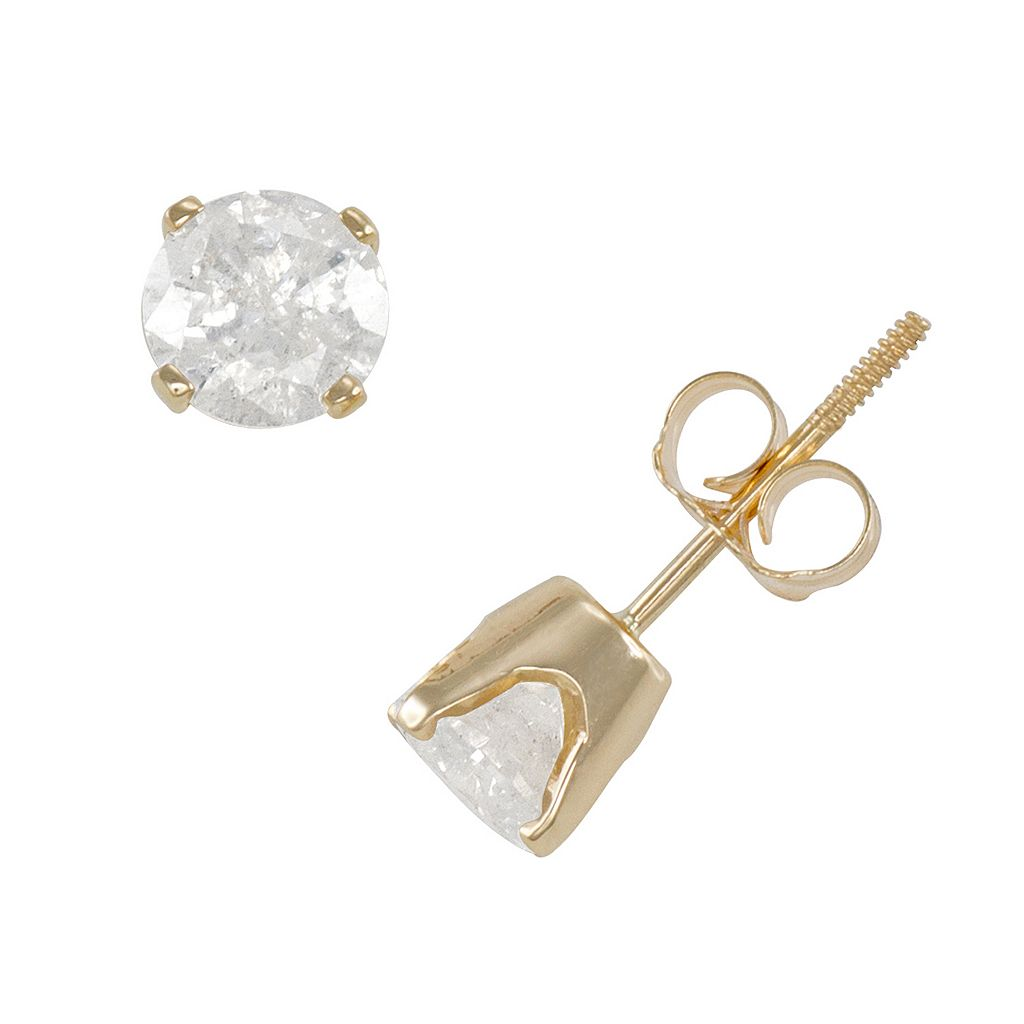 1 1/4 Carat T.W. Diamond 14k Gold Solitaire Earrings