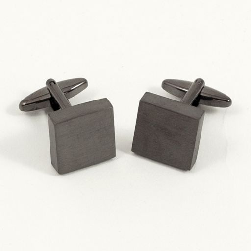 Brushed Metal Square Cuff Links