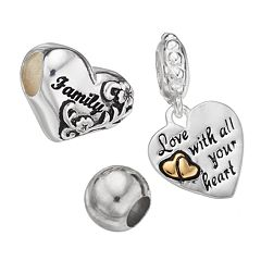 Individuality Beads Sterling Silver Two Tone 'Family' Heart Bead & Charm Set