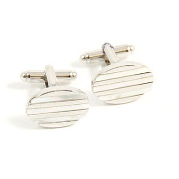 Rhodium-Plated Oval Mother of Pearl Cuff Links