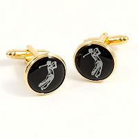 Gold-Plated Golfer Cuff Links