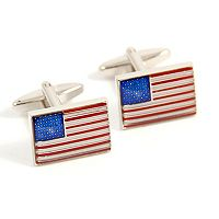 Rhodium-Plated American Flag Cuff Links